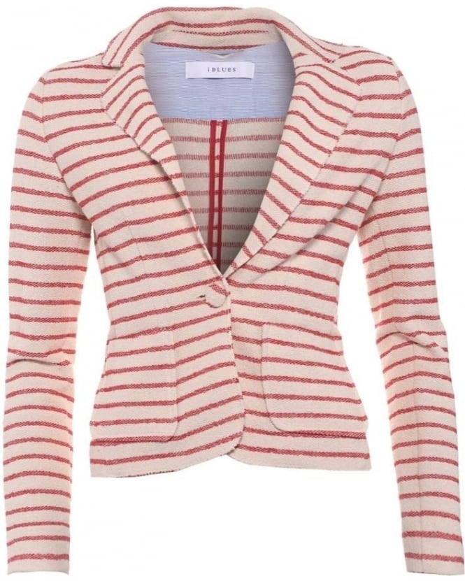 I Blues Womens Katia Blazer, White Red Striped Jacket