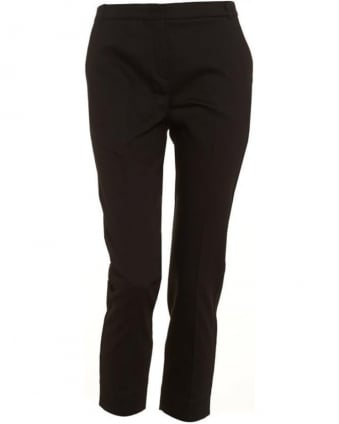Womens Lapillo Trousers, Black Cropped Cigarette Pencil Trousers