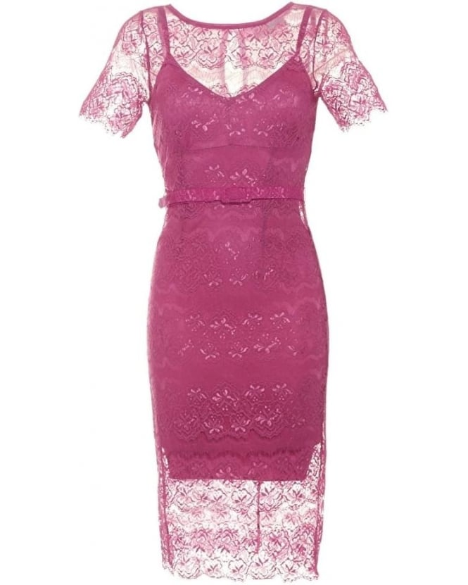 Body Frock Womens Lisa Dress, Bubblegum Pink Filigree Lace Dress