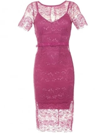Womens Lisa Dress, Bubblegum Pink Filigree Lace Dress