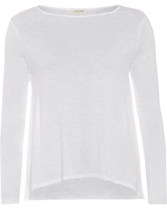 Womens Lorkford T-Shirt, Long Sleeve White Loose Tee