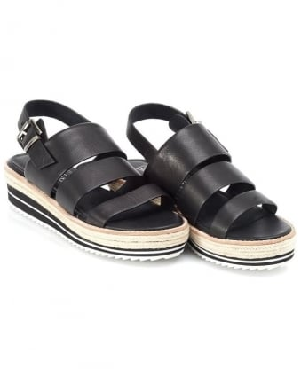 Womens Marla Sandal, Black Leather Strap Wedge Sandals