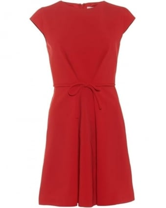 Womens Nasca Dress, Red Tie Front Skater Dress