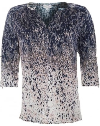 Womens Natali Tunic, Abstract Blur Print Silk Blouse