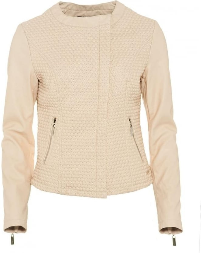 Rino and Pelle Womens Palermo Jacket, Beige Honeycomb Quilted Coat