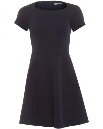 Womens Pandoro Dress, Navy Blue Flare Skater