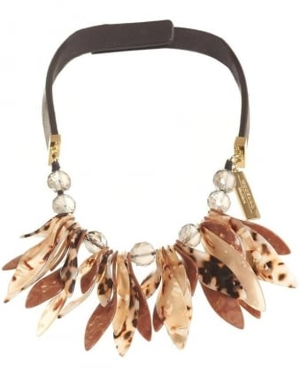 Womens Perigeo Necklace, Black Brown Petal Choker