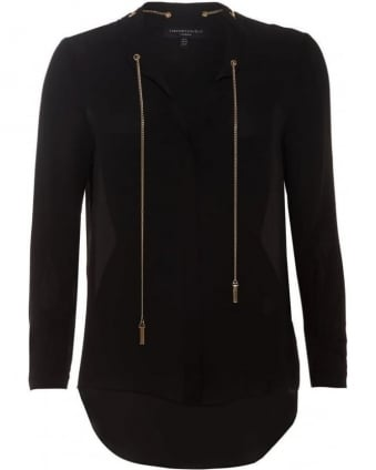 Womens Perth Blouse, Black Chain Shirt