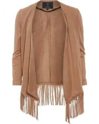 Womens Priori Jacket, Sand Faux Suede Fringed Coat
