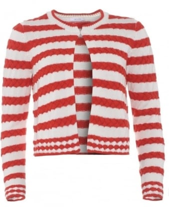 Womens Rap Cardigan, Red White Cable Stripe Cropped Cardigan