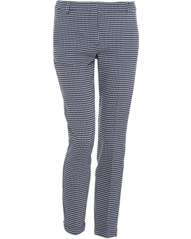 I Blues Womens Regia Trousers, Navy Blue Geometric Print Cropped Cigarette Trousers