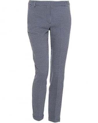 Womens Regia Trousers, Navy Blue Geometric Print Cropped Cigarette Trousers