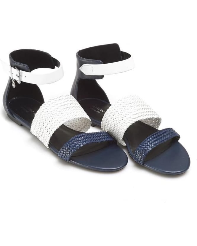 Armani Jeans Womens Sandals, Woven Strap Navy Blue White Shoes