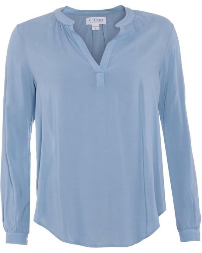Velvet by Graham & Spencer Womens Shirt Belize Baby Blue Rosie Postman Challis Blouse
