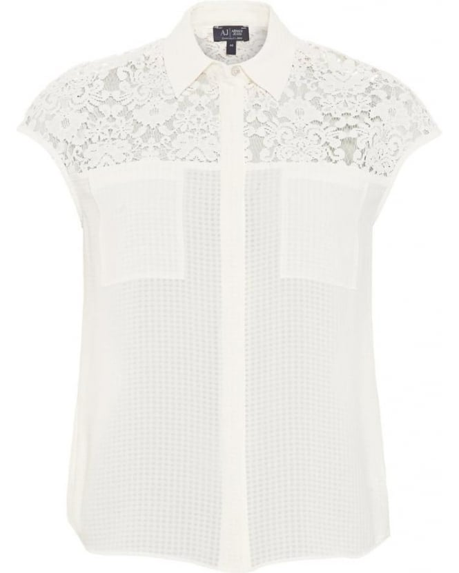Armani Jeans Womens Shirt White Lace Cap Sleeve Top