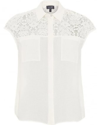 Womens Shirt White Lace Cap Sleeve Top