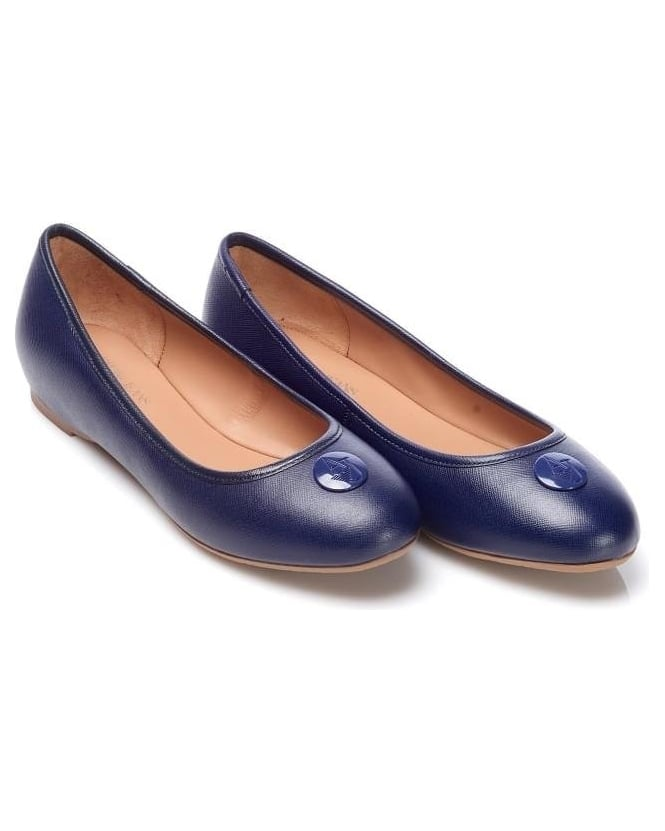 Armani Jeans Womens Shoes Navy Blue Leather Logo Ballet Pumps