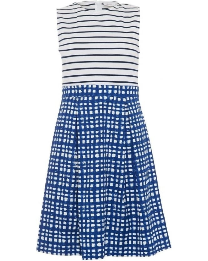 I Blues Womens Silva Dress, White Blue Striped Square Print Dress