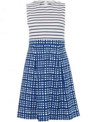 Womens Silva Dress, White Blue Striped Square Print Dress
