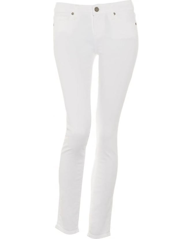 Paige Jeans Womens Skyline Ankle Peg Jean, Optic White Skinny Fit Denim