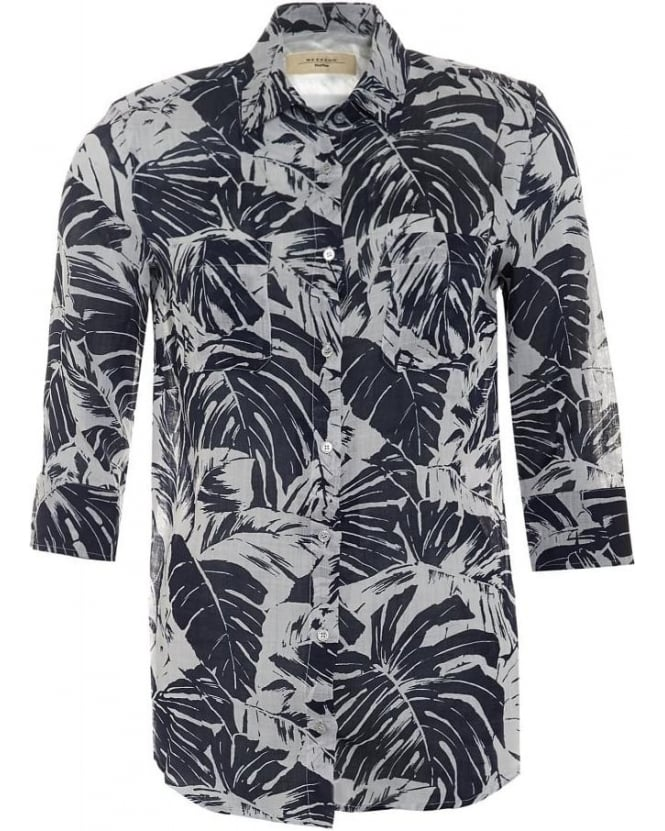 Max Mara Weekend Womens Spider Shirt, Blue White Leaf Print Shirt