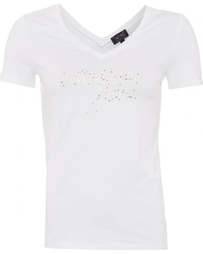 Armani Jeans Womens T-Shirt White Studded Sequin Logo Tee