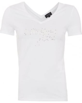 Womens T-Shirt White Studded Sequin Logo Tee