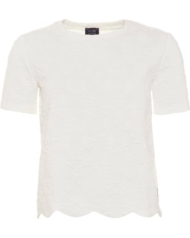 Armani Jeans Womens T-Shirt, White Textured Scallop Edge Top