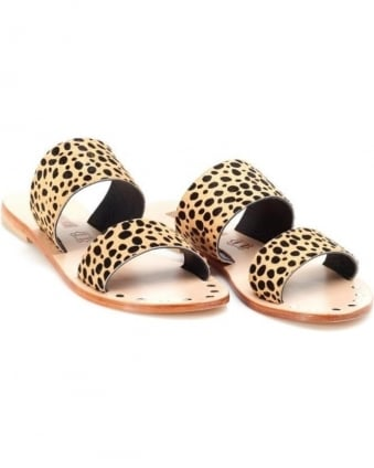 Womens Tali Slide Sandal, Leopard Print Leather Strap Sandals