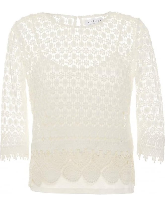 Velvet by Graham & Spencer Womens Top Ailley Mixed Lace Off White Top