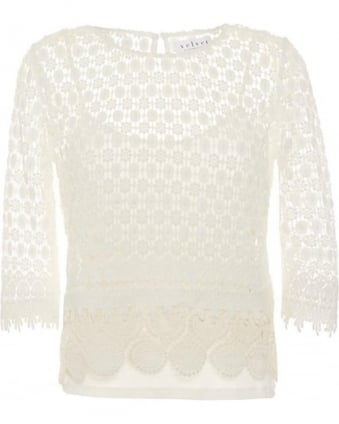 Womens Top Ailley Mixed Lace Off White Top