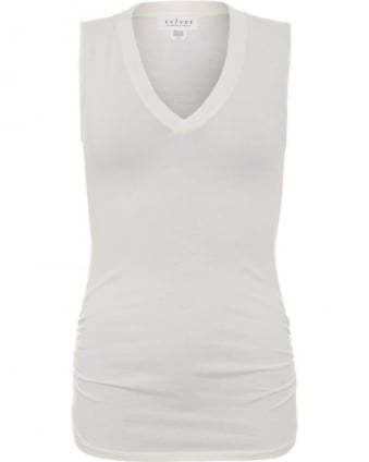 Womens Top V Neck Geena Gauzy Whisper Bone Tank Top