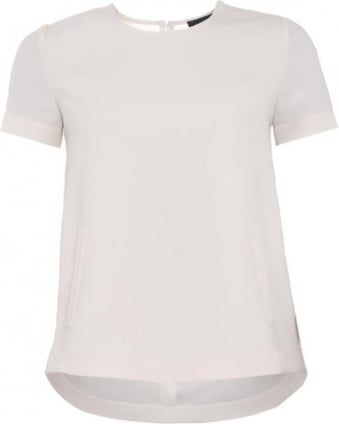 Womens Top, White Pocket Tee