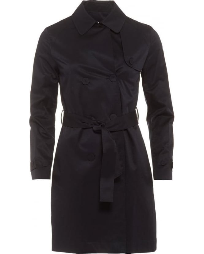 Armani Jeans Womens Trench Coat, Navy Blue