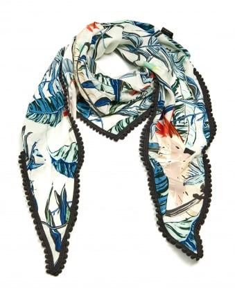 Womens Tropical Parrot Print Shawl, Pom Pom Edge Green Blue Scarf