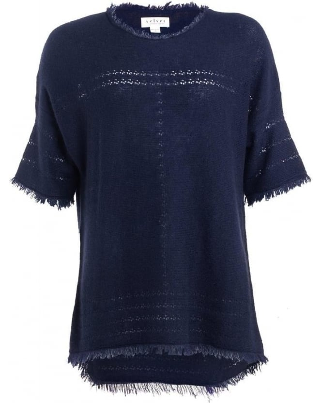 Velvet by Graham & Spencer Womens Tunic Clara Ink Blue Fringe Cashmere Knit