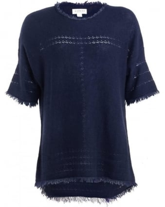 Womens Tunic Clara Ink Blue Fringe Cashmere Knit