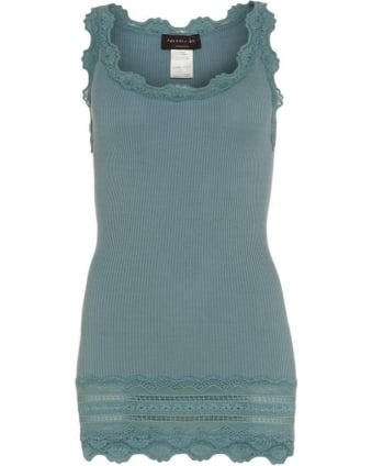 Womens Vest Benita Lace Trim Misty Aqua Turquoise Top