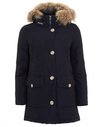 Womens Arctic Long Melton Blue Parka Coat