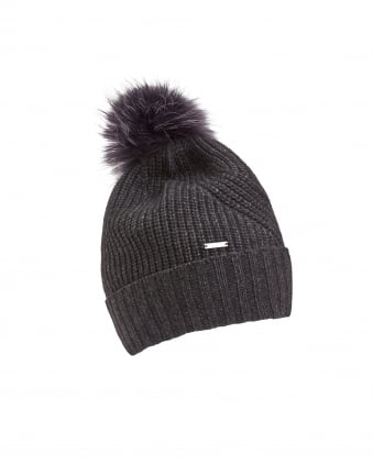 Womens Fur Pompom Grey Bobble Hat