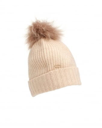 Womens Fur Pompom Off-White Bobble Hat
