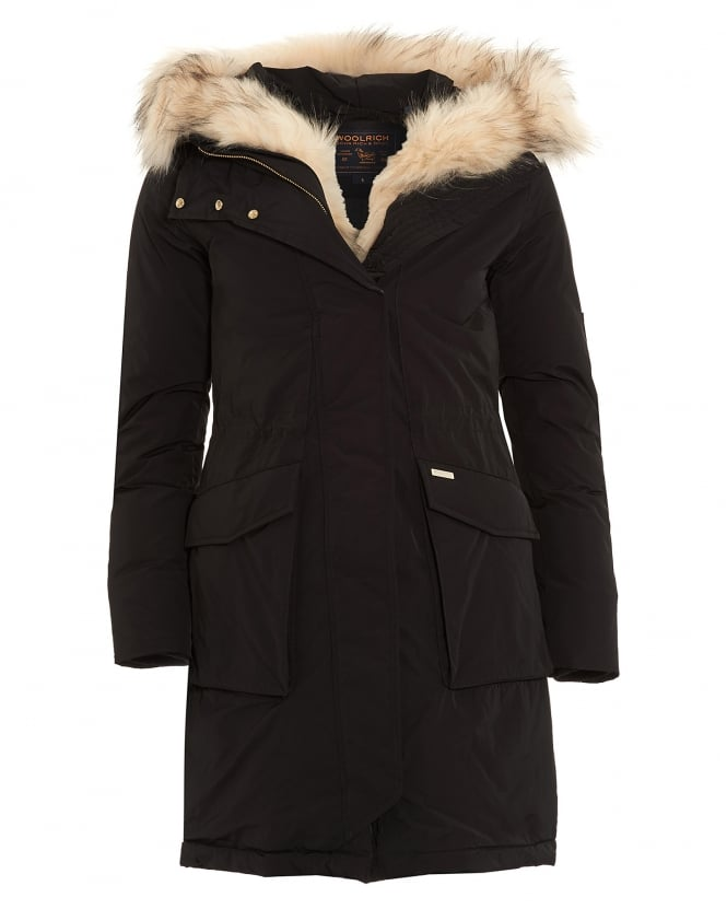 Woolrich Womens Fur-Trimmed Padded Black Parka Coat