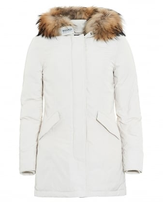Womens Lux Arctic Frozen White Parka Coat