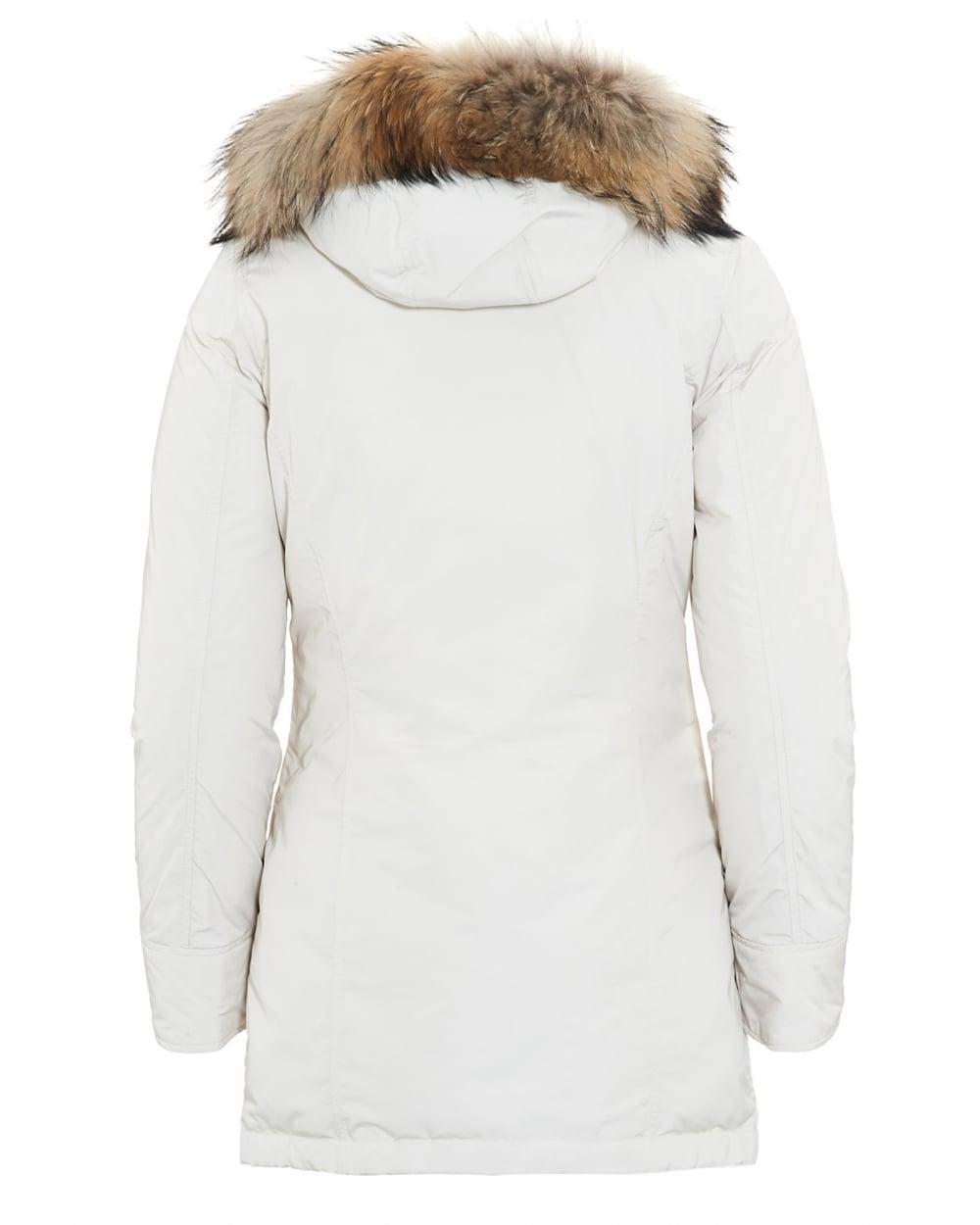 Woolrich Womens Lux Arctic Frozen White Parka Coat