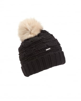 Womens Serenity Cable Knit Pompom Black Hat