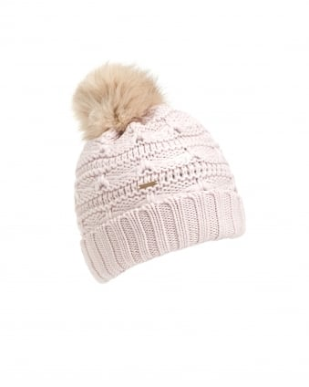 Womens Serenity Cable Knit Pompom White Hat