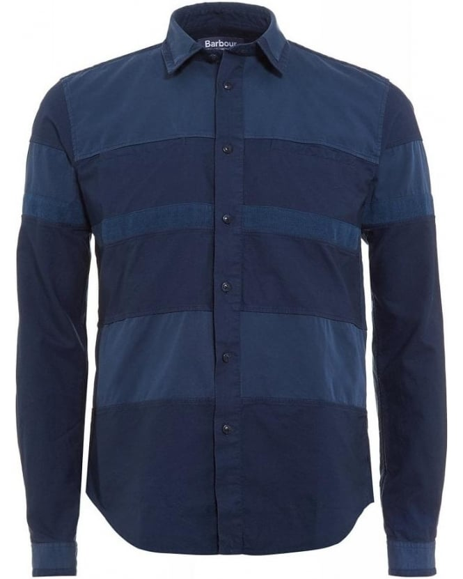 Barbour X White Mountaineering Finhara Shirt Dress Blue Corduroy Panel Shirt