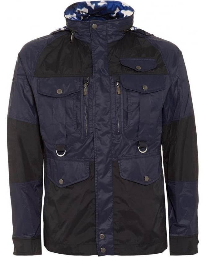 Barbour X White Mountaineering Mens Jacket Kitefin Slim Casual Navy Camo Jacket