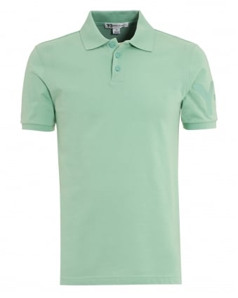 Mens 3 Button Polo Shirt, Slim Fit Plain Green Polo