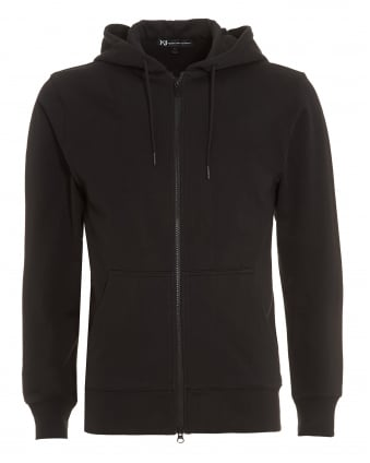Mens Back Logo Hoodie, Full Zip Black Sweatshirt